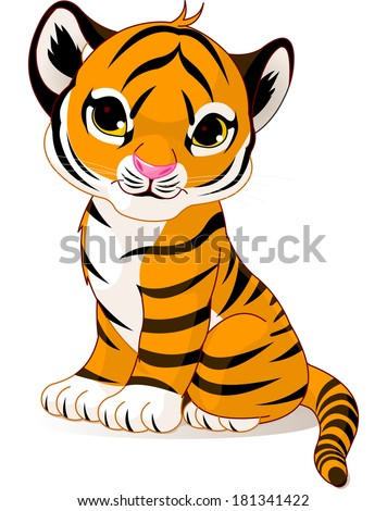 A cute character of sitting tiger cub. Raster version.
