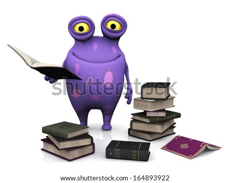 A cute charming cartoon monster holding a book in his hand. The monster is purple with big spots. He is surrounded by piles of books. White background. - stock photo