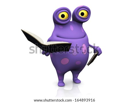 A cute charming cartoon monster holding books in his hands. The monster is purple with big spots. White background. - stock photo