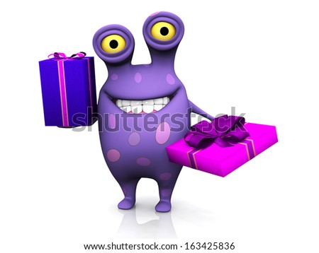 A cute charming cartoon monster holding two birthday gifts. The monster is purple with big spots. White background. - stock photo