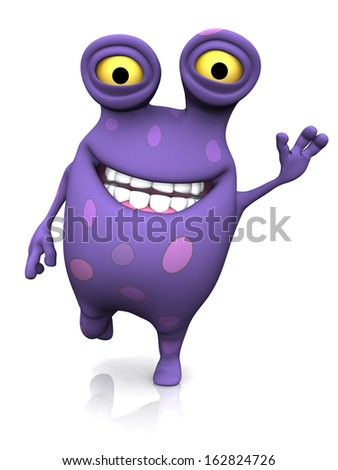 A cute charming cartoon monster waving its hand and looking very happy with a big smile. The monster is purple with big spots. White background. - stock photo