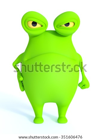 A cute charming green cartoon monster looking very angry or annoyed. White background. - stock photo