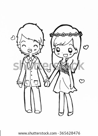 A cute couple in love, holding hands. Hand drawn. technique pencil, ink. black and white. Love and Valentine's concept  - stock photo