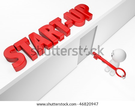 a cute 3D guy reaches the start-up  (Happyman series) - stock photo