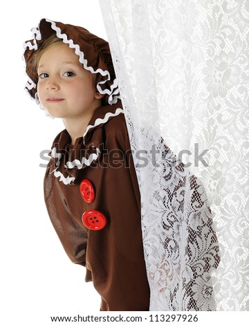 """A cute elementary """"gingerbread girl"""" peeking out from behind a lacey white curtain.  On a white background. - stock photo"""