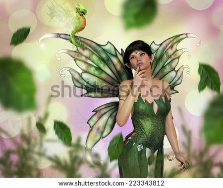 A cute fairy looking at a tiny fae dragon. - stock photo