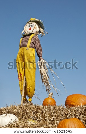 A cute fall scarecrow standing on a bail of hay with pumpkins and blue sky background, vertical - stock photo