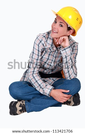 A cute female construction worker.