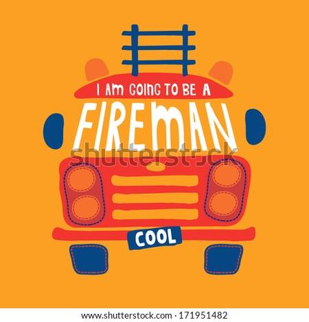 A cute Firetruck design with applique design. - stock photo
