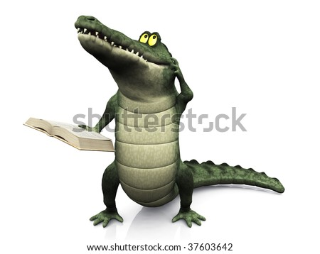 A cute, friendly cartoon crocodile scratching his head, thinking about something and holding a book in his hand. - stock photo