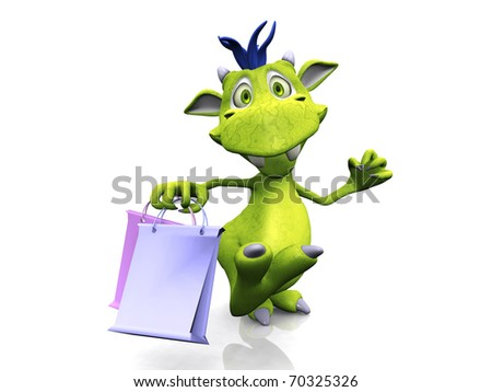 A cute, friendly cartoon monster holding two shopping bags. The monster is green with blue hair. White background.