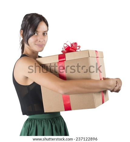 A cute girl receives her gift awaited - stock photo