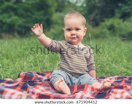 A cute little baby in nature is sitting on a picnic blanket and is waving