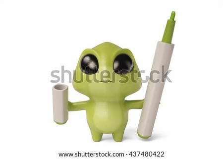 A cute little cartoon monster and markers,3D illustration.