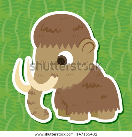 a cute prehistoric animal sticker with Mammoth - stock photo
