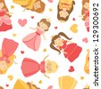 A cute princesses  seamless pattern - stock vector