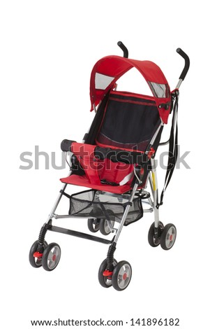 A cute red baby pram isolated on white background - stock photo