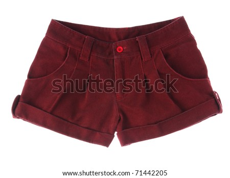 A cute red maroon shot pant for teenager isolated on white