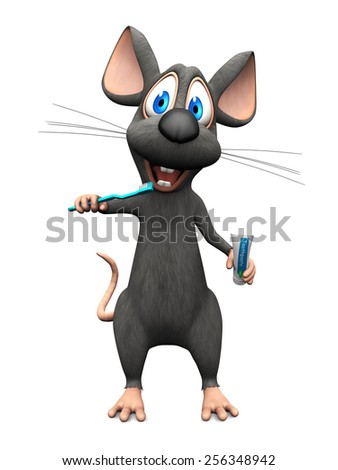 A cute smiling cartoon mouse holding a toothbrush in one hand and toothpaste in the other, ready to brush his teeth. White background. - stock photo