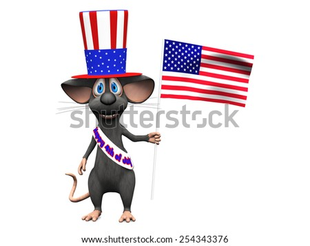 A cute smiling cartoon mouse wearing a flag decorated hat and a sash with the text Happy 4th of July and holding an American flag. He is celebrating 4th of July or Independence Day. White background. - stock photo