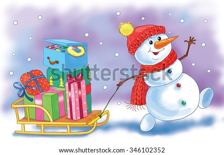 A cute snowman with a sledge full of Christmas presents. Christmas. New Year. Greeting card. Illustration for children - stock photo