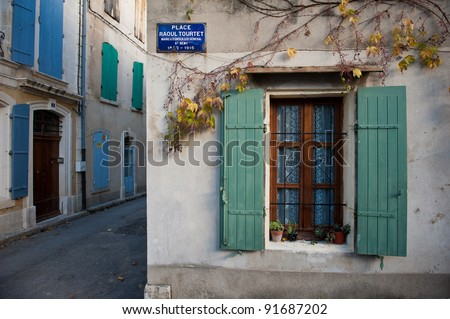 A cute street in southern France in Saint-Remy-de-Provence - stock photo