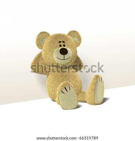 A cute teddy bear relaxes sitting on the floor,leaning against a wall while folding his arms behind his head. He looks towards the camera and smiles. Front view also available. - stock photo