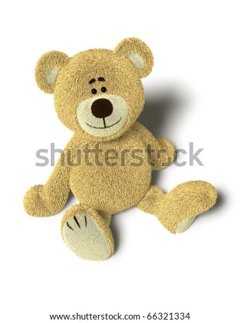 A cute teddy bear sits down on the floor and looks up into the camera.Isolated on withe background with soft shadows. - stock photo
