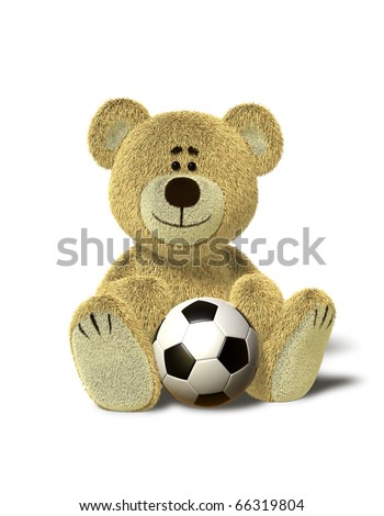 A cute teddy bear sits down on the floor with a soccer ball between his legs. Isolated on withe background with soft shadows. - stock photo
