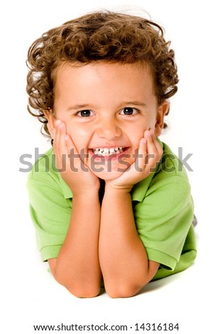A cute young boy on white background - stock photo