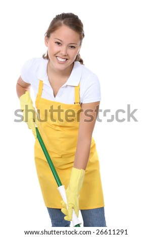 A cute young maid with mop getting ready to clean - stock photo