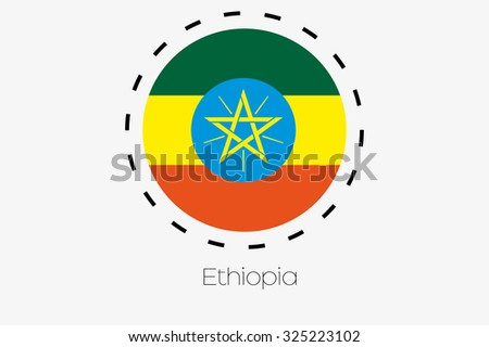 A Cutout Outline with the flag of Ethiopia