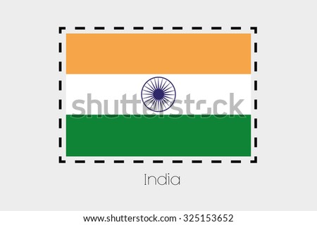 A Cutting outline around the flag of India