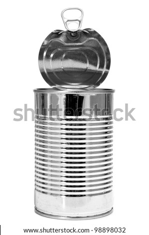 a cylindrical can on a white background - stock photo