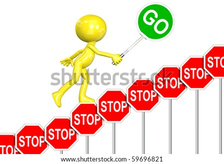 A 3D cartoon carries GO sign up stair step STOP signs rising above negativity. - stock photo