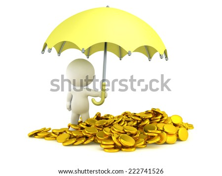 A 3D character holding an umbrella over a pile of gold coins  - stock photo
