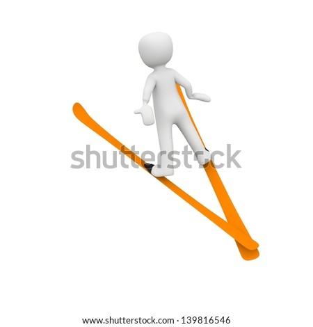 a 3d character jumping skis.