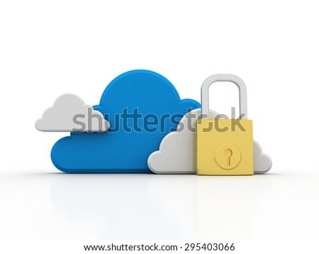 A 3d concept graphic depicting a cloud computing concept. Rendered against a white background with a soft shadow and reflection to enhance the 3D