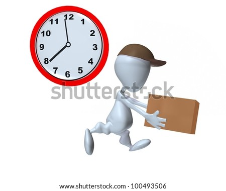 A 3d delivery man on time delivery - stock photo