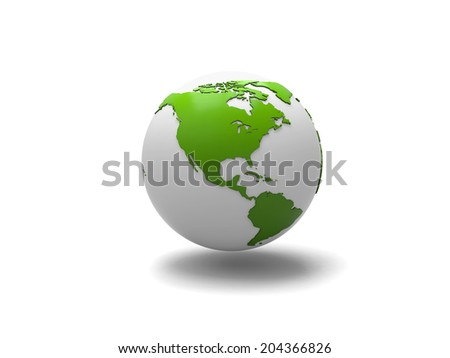 A 3d earth isolated on white background
