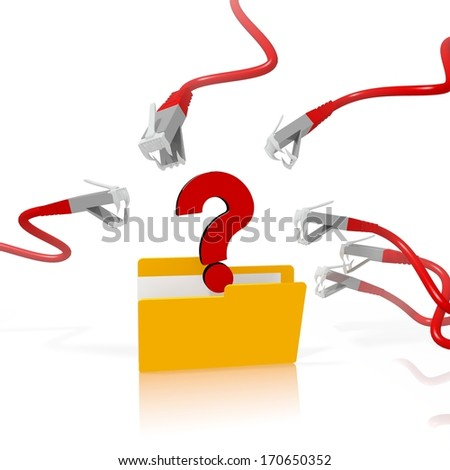 a 3d file folder with a red question in it isolated on white background is attacked and hacked by network cables