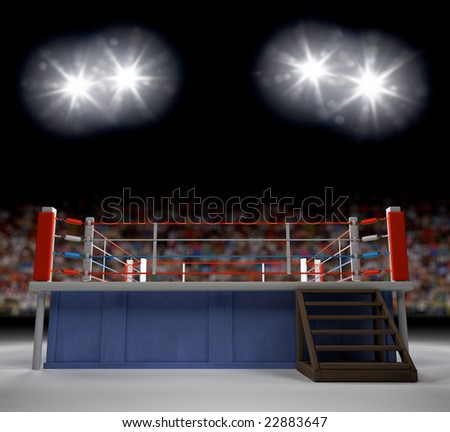A 3d generated professional boxing ring empty showiing audence in back. - stock photo