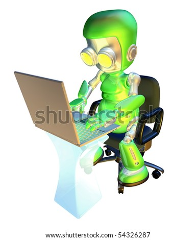 A 3d green robot mascot illustration of a cute green robot character sitting in an office chair with using a pc laptop at desk - stock photo