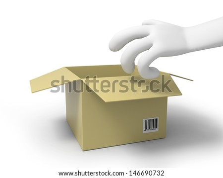 A 3d hand reaching for a package box - stock photo