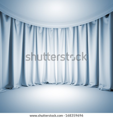 A 3d illustration blank template background of empty white theater stage with bright light at curtain and floor. - stock photo