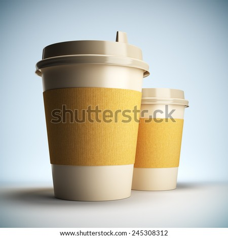 A 3D illustration blank template layout of Coffee cups. Coffee cup surface empty to place your text or logo. - stock photo