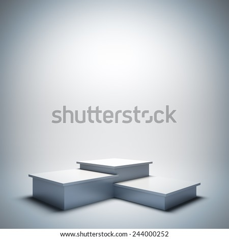 A 3d illustration blank template layout of empty white sport podium. Copy space to place your text, object or logo. - stock photo
