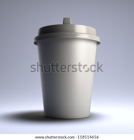 A 3d illustration blank template layout of white coffee paper cup. Copyspace for insert logo or text. - stock photo