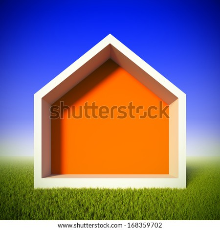 A 3d illustration concept of ecology house at green grass field. House shaped frame for insert anything. - stock photo