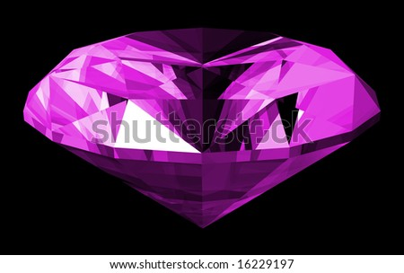 A 3d illustration of a amethyst gem isolated on a black background.